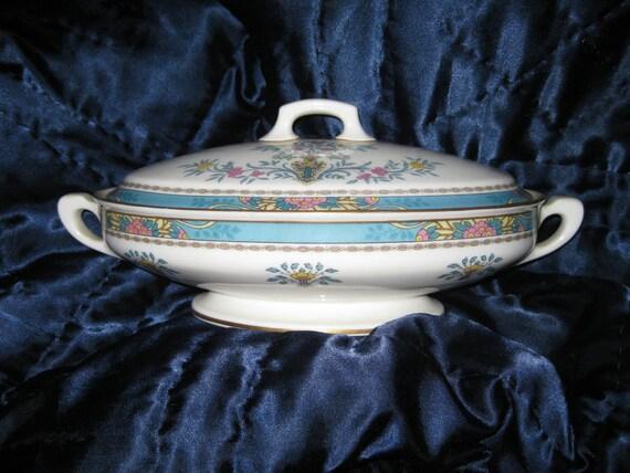 Rare Lenox Blue Tree Antique Lidded  Vegetable Bowl, Great, Lenox Black backstamp, Gold trim