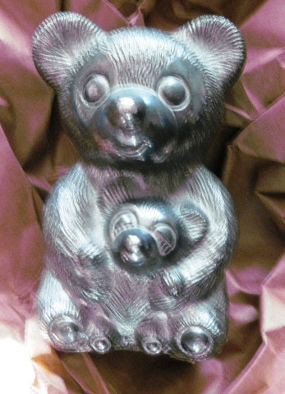 Vintage Silver plated Mama Bear with Sleeping Baby Bank