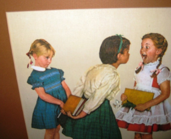 Norman Rockwell Framed Litho: Young Girl Lost tooth