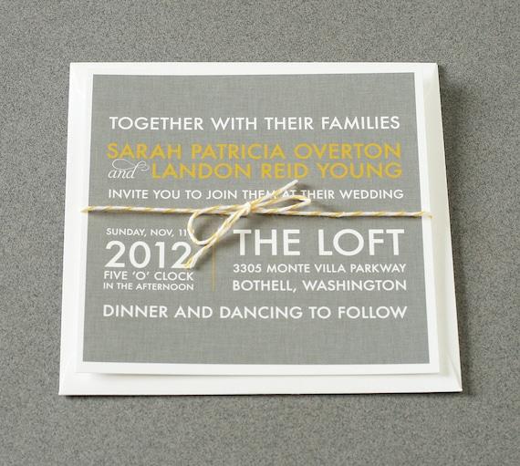 Wedding Invitations Modern Square Linen