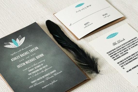 Rustic Wedding Invitations Chalkboard Feathers