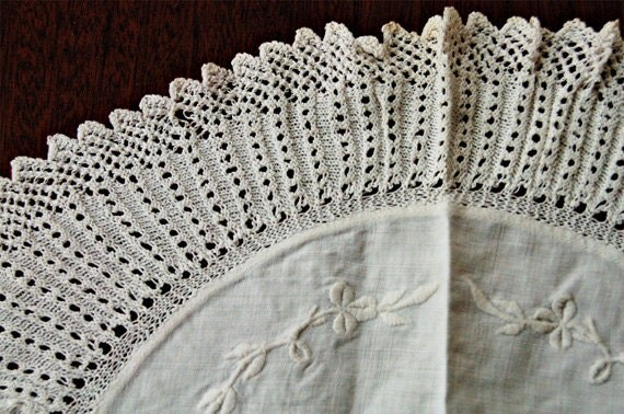 RESERVED FOR TRECE Antique white linen & lace whitework embroidery oval doilie
