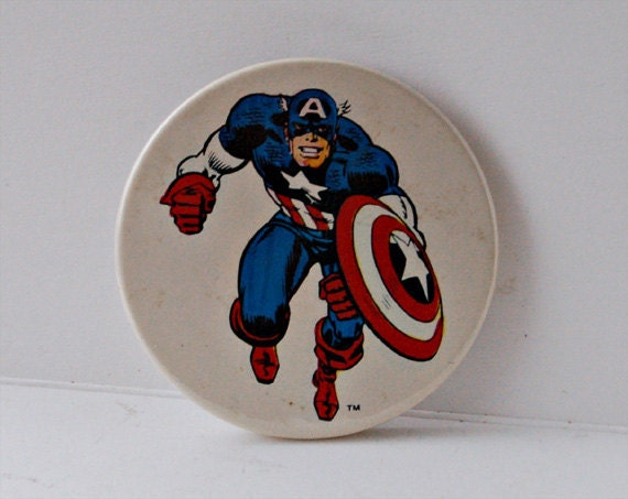 Vintage Captain America Pin Badge