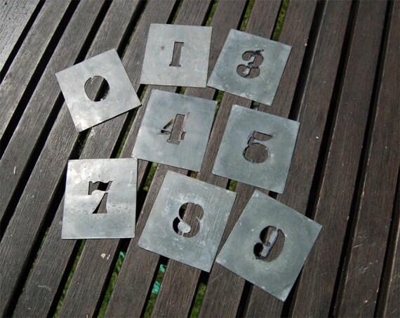 Vintage zinc small print number stencils