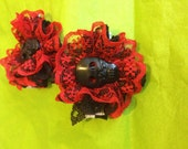 Burlesque sugar skull hair clips in black and red, pair