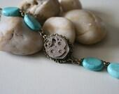 Steampunk Bracelet - Steampunk Turquoise Bracelet - Ballerina Envy - Gift for Her