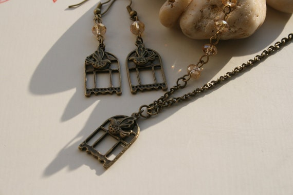 Bird Cage and Bird Necklace and Earring Set - A Bird in the Hand - Gift for Her