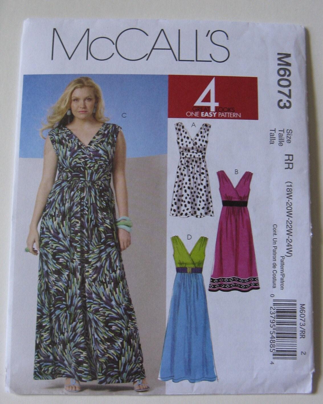 mccall s sewing pattern m6073 plus size 18w 24w