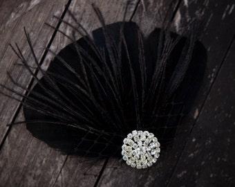 Black feather headpiece - feather hair fascinator - feather bridal headpiece - bridesmaid fascinator - bridesmaid headpiece