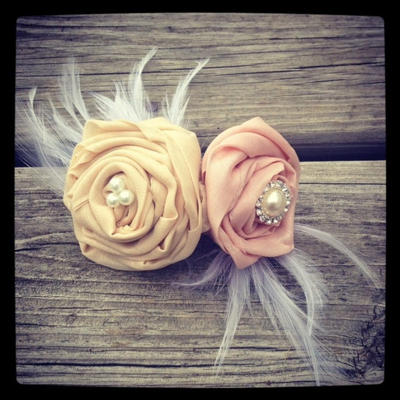 Soft pink and cream hair fascinator, bridal fascinator, bridal head piece, bridesmaid, wedding, bridal, flower girl, head piece, hair piece