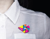 Geometric shaped handmade brooch with colorful triangles