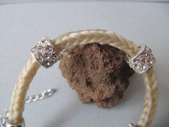 Braided Horsehair Bracelet, Bracelet, Horsehair, rhinestones, white,horse hair, horsehair jewelry