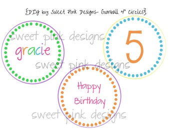 """Printable 4"""" Circles- Gumball Party Collection"""