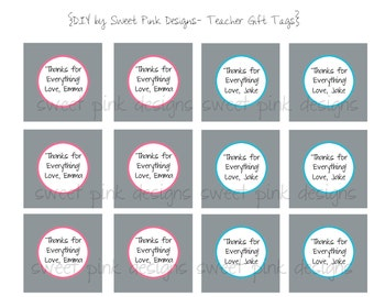 "Printable 2"" Party Circles Teachers  Gift Tags"