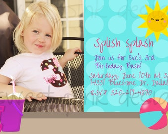 Printable Invitation- Pink Beach Collection