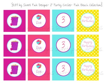 "Printable 2"" Party Circles- Beach Pink Collection"
