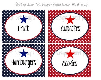 Printable Fancy Labels- Fourth of July Collection