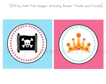 Happy Birthday Banner- Pirates and Princess Party Collection