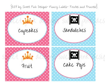 Printable Fancy Labels- Pirates and Princess Party Collection