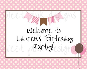 Printable Welcome Sign- Pink Cake Collection