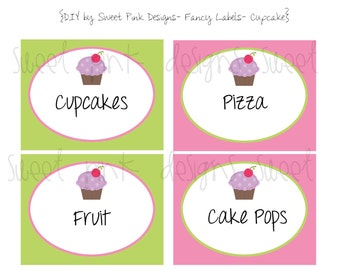 Printable Fancy Labels- Purple Cupcake Collection