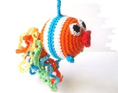 Fish baby toy Rattle fish  Crochet toy Orange bright striped Baby toy rattle Teething toy Nursery room toy Gift for baby Pram toy