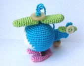 Helicopter toy Helicopter Baby Helicopter Rattle Miniature helicopter Blue pink green Gift for baby Teething toy Nursery decor Vehicle fun