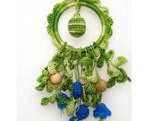 Teething ring Green blue teether Flower Rattle  -  Baby Shower gift  Breastfeeding- Summer spring