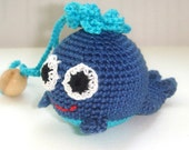 Baby toy blue whale the first toy for your baby breastfeeding nursing toy marine animal toy rattle  coose your color