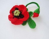Red Poppy- Red Flower Brooch - Large beautiful crochet brooch - brooch on the frame
