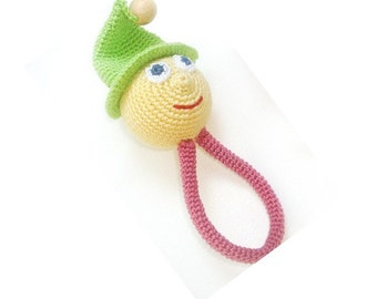 Gnome baby toy, Rattle gnome, Baby teething toy, Teething ring, Baby toy, Gift for baby, Pink green yellow, Elf baby toy,Friendly toy
