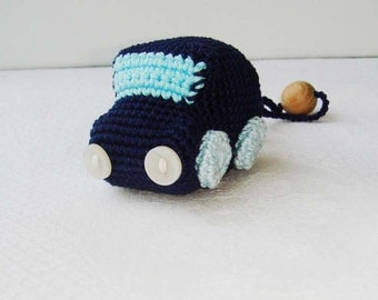 Baby toy car,Baby stuffed car,Crochet baby toy,Car,Blue,Gift for baby,Gym toy,Hanging baby toy,Car seat toy,Stroller toy,Toddler,Navy,Safe