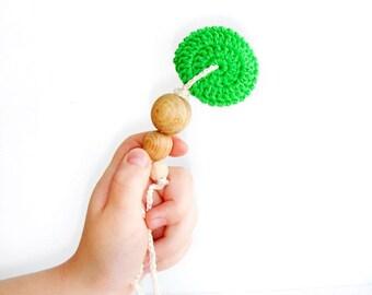 SALE Green Nursing  Necklace,Mini teething necklace,Natural eco Breastfeeding necklace,Babywearing pendant,Teething Toy,Baby shower gift