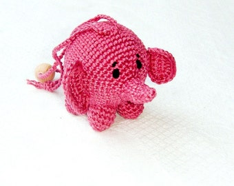 Baby toy Pink rattle elephant   Ctochet toy