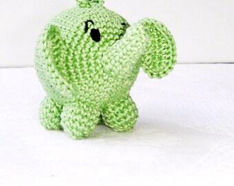 Elephant baby toy,Green Rattle elephant,Baby elephant,Gift for baby,Elephant teething toy,Safari animal,Waldorf elephant toy,Nursery decor