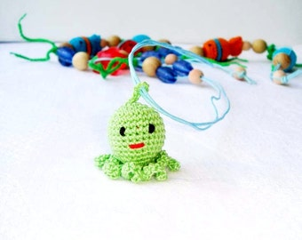Nursing Necklace Octopus Green blue Teething Necklace  Mommy  Sling Accessory Waldorf toy  Wrap Baby Carrier Wooden toy developing toy