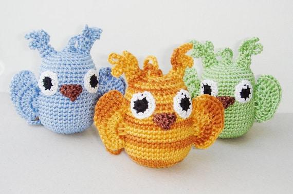 Owl Baby toy Rattle Owl Crochet toy animal Decoration Woodland Tree Waldorf Bird Nursery Home Decor Halloween