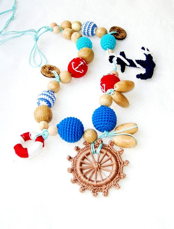 Marine nursing necklace - Teething necklace - necklace for new mommy -  steering wheel - sea ocean - mothers day