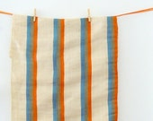 Ethical Handwoven Natural Fabric  - Summer Stripes (1 meter)