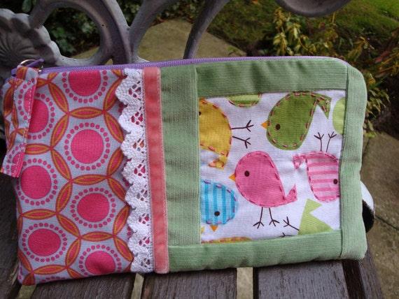 Handmade Cotton Zipper Pouch - multipurpose - Lace - Birds - Cute Birds - Green Needlecord - Cosmetic - pencils - Phone - Keys.
