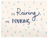 """It's Raining, It's Pouring - Oil Pastel Rain Drops Illustration Print. Available in 2 sizes: 6x4"""" & 8x10"""""""