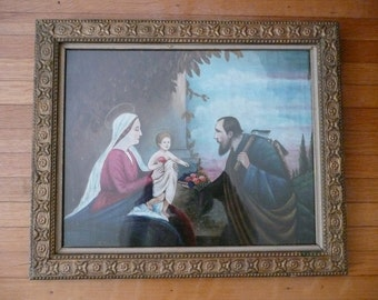 Oil Painting - Original Art - Antique - Signed - Mother Mary - European Oil Painting - Religious Painting - Christ Child - Folk Art