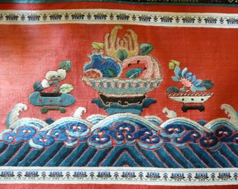Antique Chinese Silk Embroidery - Silk Textile - Silk Embroidery - Asian Decor - Handmade Oriental Wallhanging - Embroidered Wallhanging