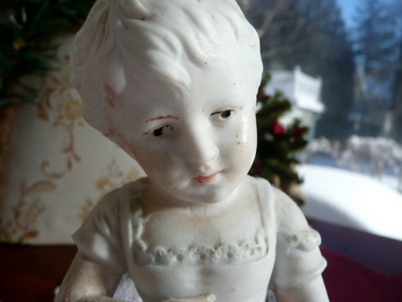 Antique Bisque Figurine - Baby Girl Figure - Victorian Dress - Hand Painted  Doll - Piano Baby
