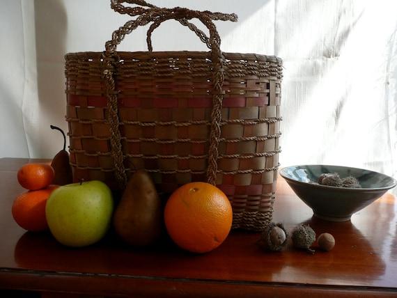Antique Hand Woven Basket - Native American Indian Basket - American Indian Woven Purse - Northeastrn Woodland Basket