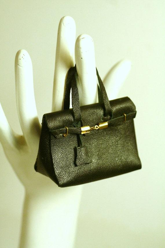 Fashion royalty ,barbie  black leather  DOLL BIRKIN bag
