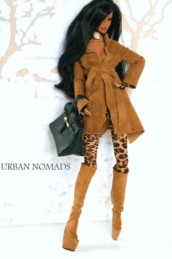 fashion royalty,barbie,leather coat,collant pants,birkin bag,boots
