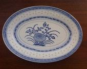 "Tienshan ""Rice Flower"" Oval Chinese 15"" Platter Blue & White Flower"