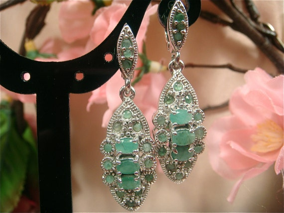 RESERVED for BARBARABALDWIN--2nd Payment--Colombian Emerald 1.0ctw Earring, Sterling Silver (Value 700 USD) From: Seattle Fine Jewels