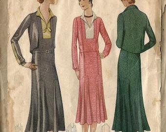 RARE Vintage 20's / 30's McCALL 6232 Dropwaist Flapper Dress 1920's 1930's ART DECO Sewing Pattern